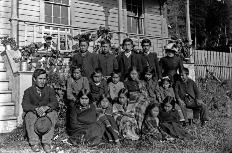 Alert Bay, British Columbia, school, 1885. The federal government has estimated that over 150,000 students attended Canada's residential schools. Library and Archives Canada, George Dawson, PA-037934.