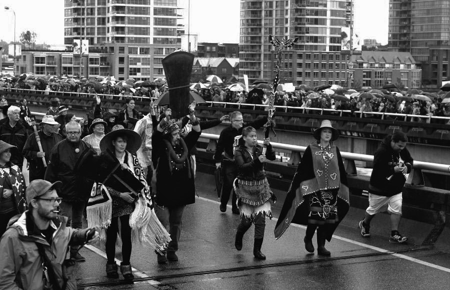 Tens of thousands participate in the Walk for Reconciliation through downtown Vancouver, September 2013.