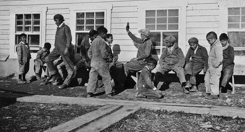 Boys at the Sioux Lookout, Ontario, school in the 1930s in their school uniforms. General Synod Archives; Anglican Church of Canada; P75-103-S7-127.