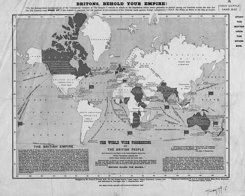 By the end of the nineteenth century, the British Empire spanned the globe. This map was intended to convince Britons of the benefits of empire. In it, Canada was primarily valued for its farmland and as a captive market for British goods. Library and Archives Canada, NMC8207, e011076405-v8.