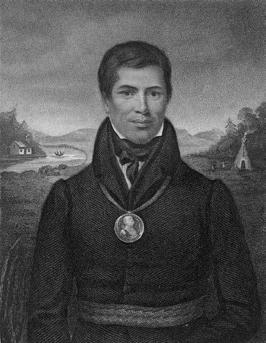 Kahkewaquonaby (Sacred Feathers), also known as Peter Jones, in 1832. He was an Ojibway chief who worked with Methodist officials to establish the Mount Elgin residential school in Muncey, Ontario. He died before the school opened. Toronto Public Library, X2-25.