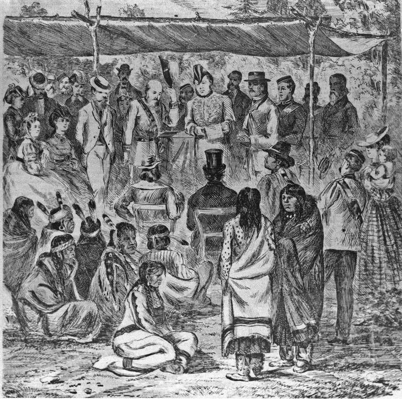 The signing of Treaty 1 at Lower Fort Garry, 1871. To gain control of the land of Indigenous people, colonists negotiated Treaties, waged wars of extinction, eliminated traditional landholding practices, disrupted families, and imposed new political and spiritual order that came complete with new values and cultural practices. Provincial Archives of Manitoba, N11975.