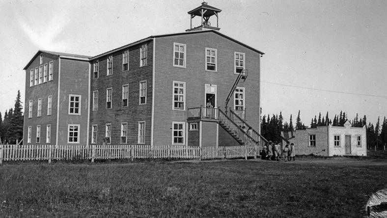 The Roman Catholic school in Fort George, Quebec, opened in 1931. Deschâtelets Archives.