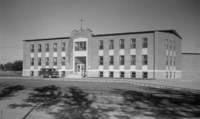 "Grandin College in Fort Smith, Northwest Territories, developed a positive reputation as a ""leadership factory"" for the North. Deschâtelets Archives."