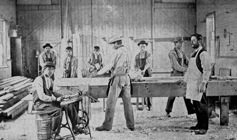 Carpenter's shop in the Battleford school, 1894. Saskatchewan Archives Board, R-B7.