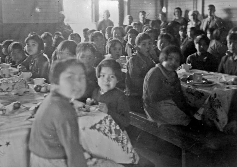 Ahousaht, British Columbia, students in the school cafeteria. British Columbia Archives, PN-15589.