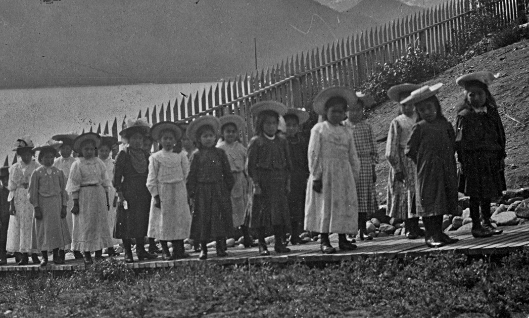 Students at the Kitamaat, British Columbia, school. In 1922, parents refused to return their children to school after the death of one student. The United Church of Canada Archives, 93.049P1835.